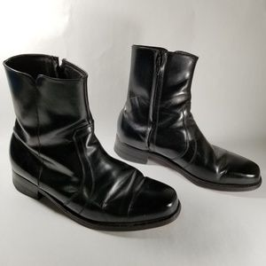 Florsheim Black Leather Square Toe Ankle Boots